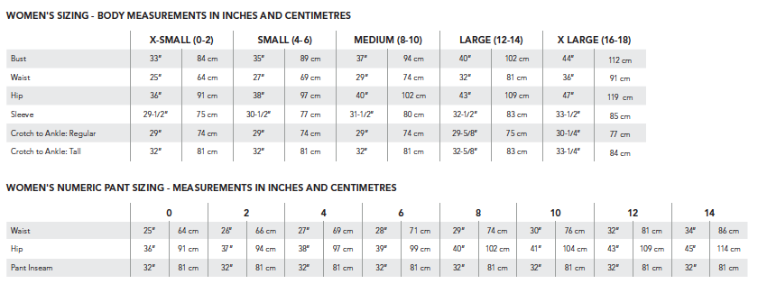 Image result for arc'teryx sizing chart women's image