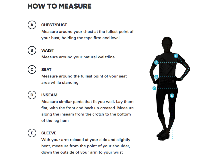 How to measure for womens peak performance ski clothing