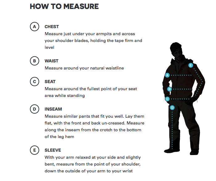 How to measure for mens peak performance ski clothing