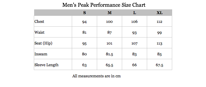 Peak Performance Mens Size Chart