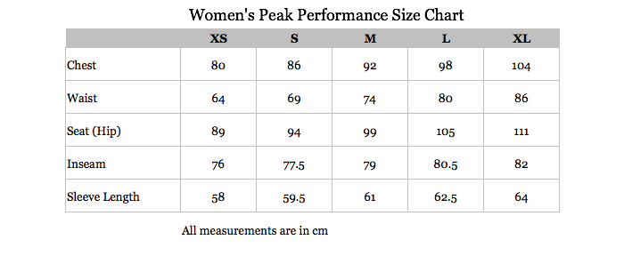 Peak Performance Womens Size Chart