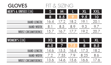 salomon glove size chart