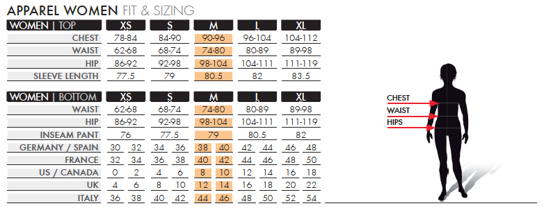 salomon womens size chart