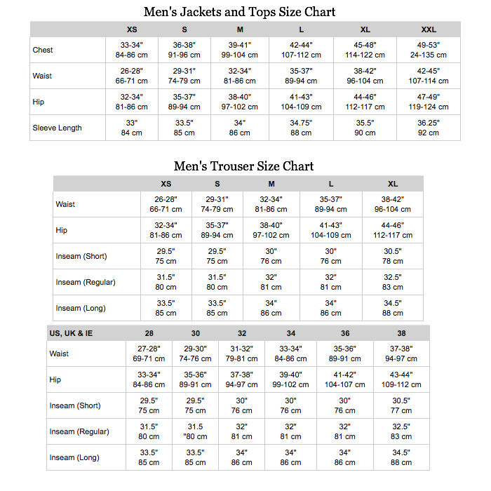 The North Face Mens Jacket and Trouser Size Chart