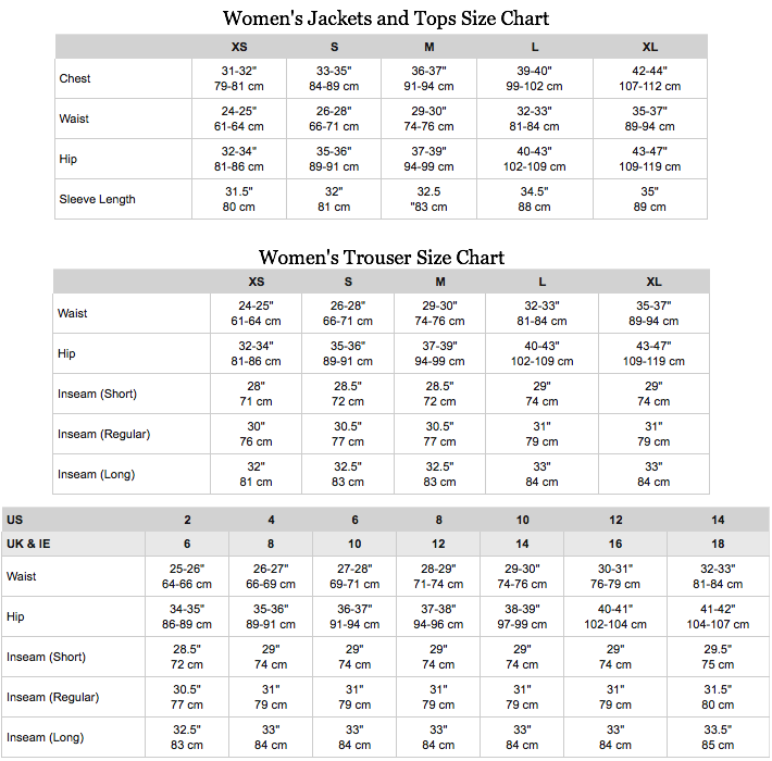 The North Face Womens Jacket and Trouser Size Chart